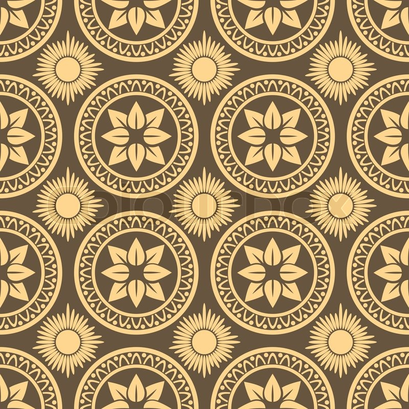 Retro Seamless Circle Background Vintage Wallpaper Texture Royal Vector Illustration Pattern Baroque Style