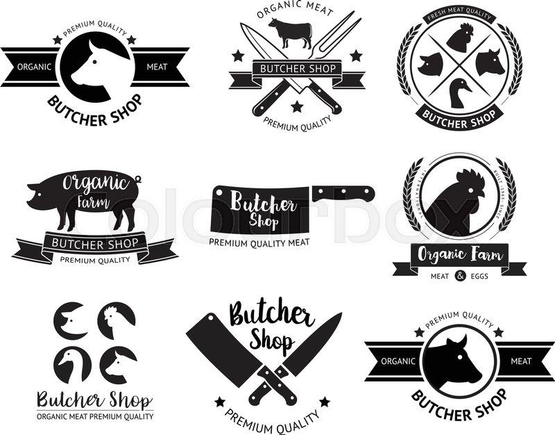 butcher shop logo and label vector illustrations stock vector rh colourbox com butcher logo vector butcher's logopedia