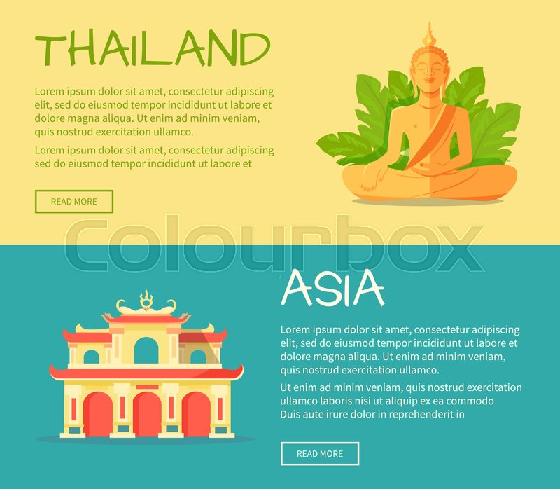 Set of Asia and Thailand web banners. Monument of Buddha and building of ancient thai temple flat vector illustrations. Horizontal concepts with Asia related symbols for travel company landing page, vector