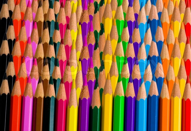 Background Made Of Rows Bright Color Pencils Stock Photo Colourbox