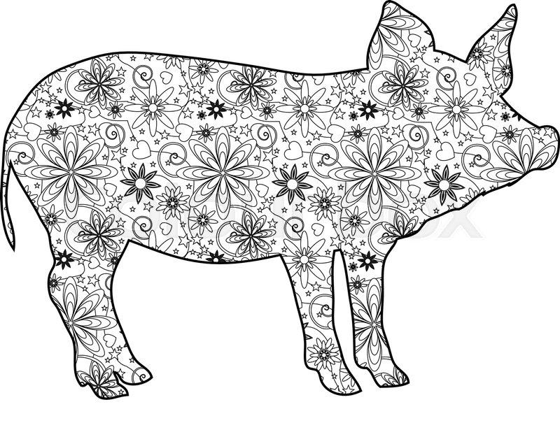 Zentangle pig Stock Vector
