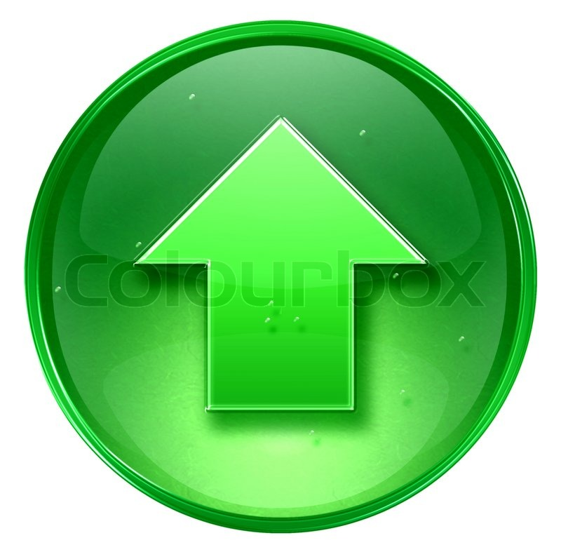 Stock image of 'Arrow up icon green, isolated on white background'