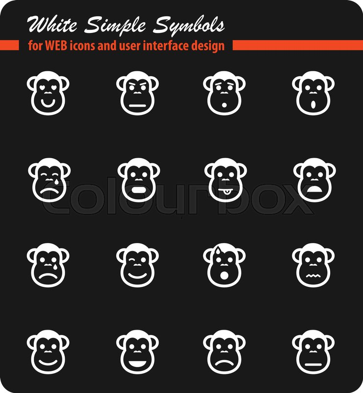 Monkey emotions simply symbol for web icons and user interface, vector