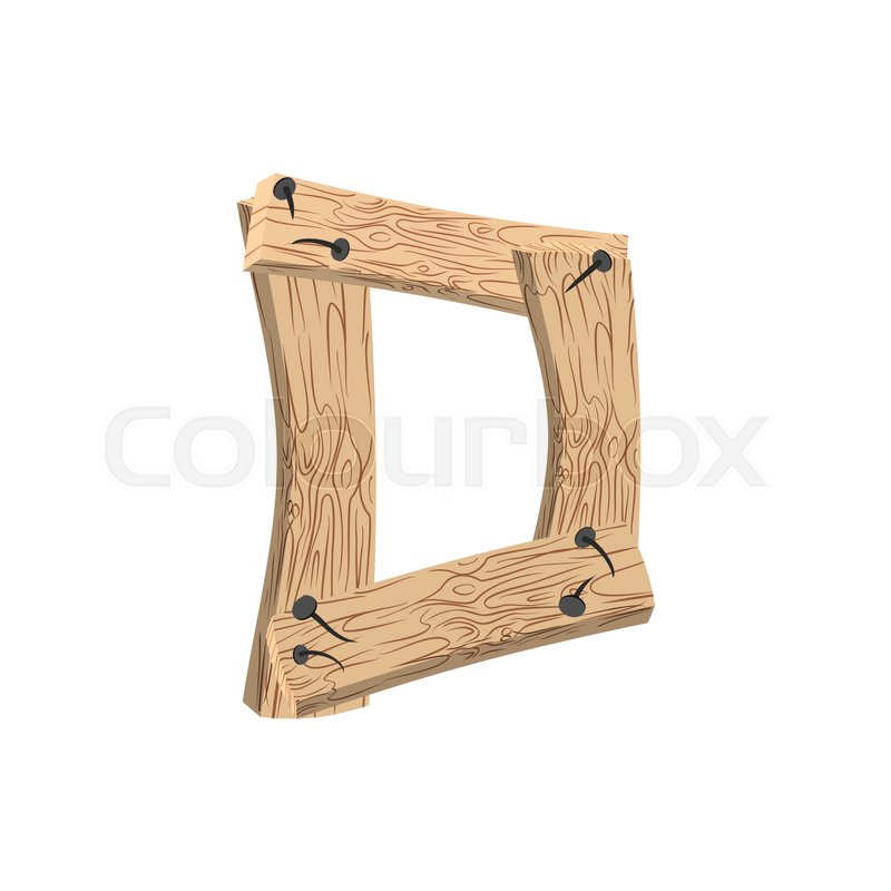 letter d wood board font. plank and nails alphabet. lettering of