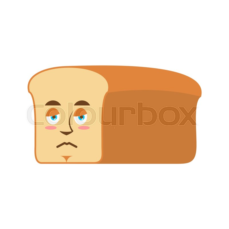 Bread sad Emoji. piece of bread sorrowful emotion isolated, vector