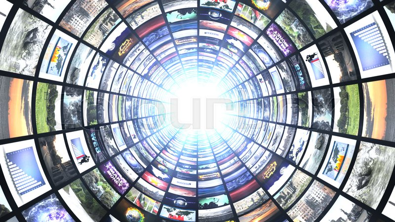 Monitors Tunnel, Technology Abstract Computer Graphics Background, stock photo