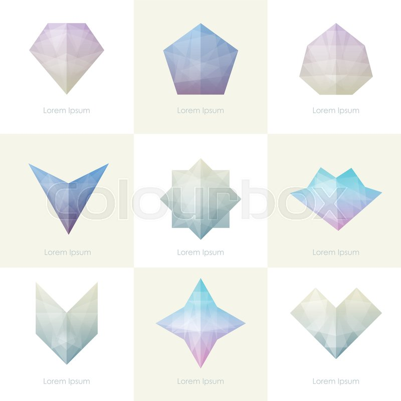Set Of Trendy Soft Mesh Facet Crystal Gem Geometric Logo Icons And Abstract Shapes For Business Visual Identity Triangle Polygons Rectangular Designs