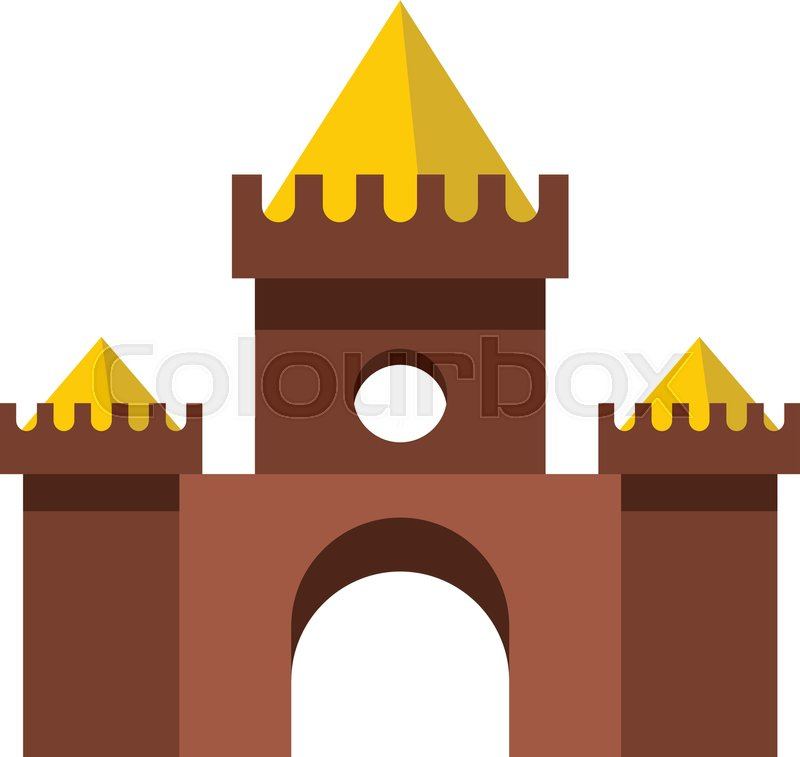 Brown castle icon in flat style isolated on white background vector illustration, vector