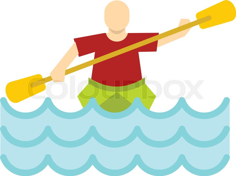 Kayaking water sport, icon in flat style isolated on white background vector illustration, vector