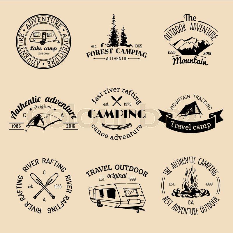 Vector set of vintage camping logos      | Stock vector
