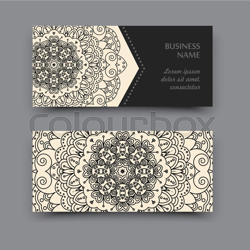 Set business card with a picture of the mandala. Layout design in ...
