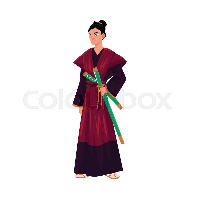 Japanese Samurai Warrior In Traditional Kimono With