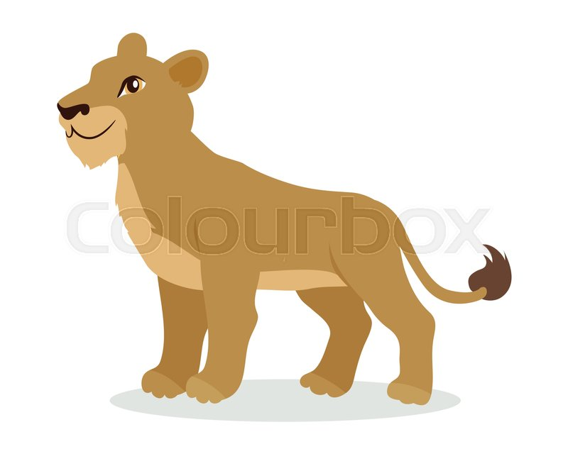 Lioness or lion cub cartoon character adult female