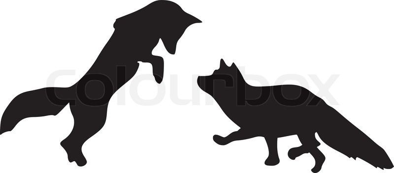 Silhouette of foxes | Stock Vector | Colourbox