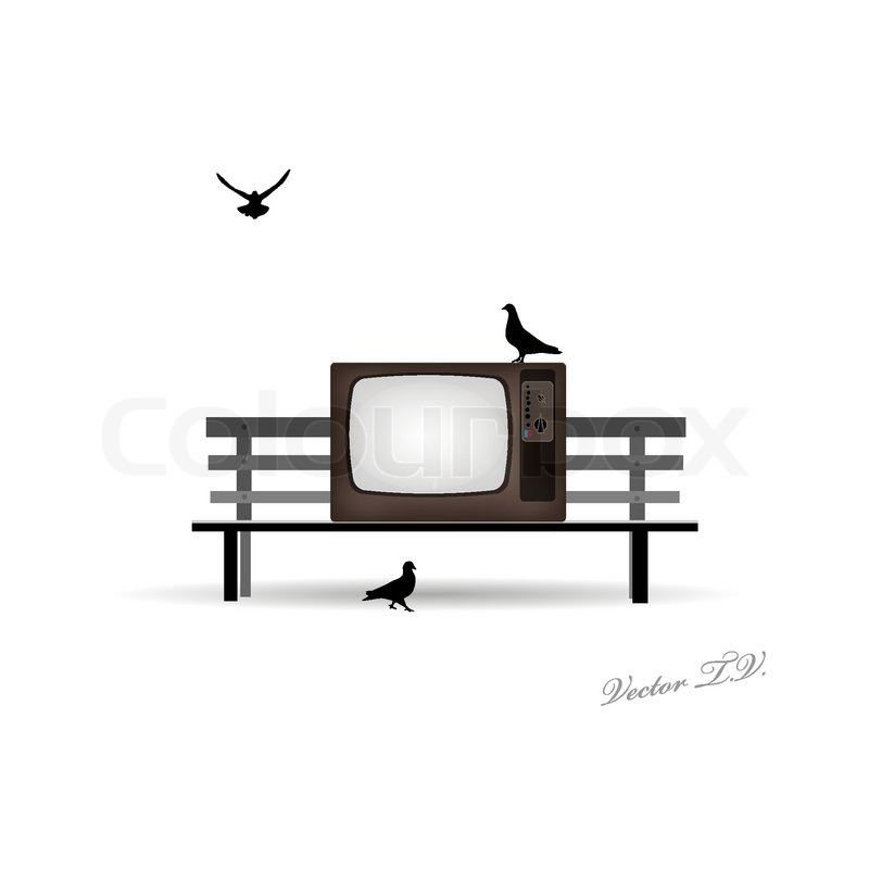 retro tv auf der bank und tauben vektorgrafik colourbox. Black Bedroom Furniture Sets. Home Design Ideas