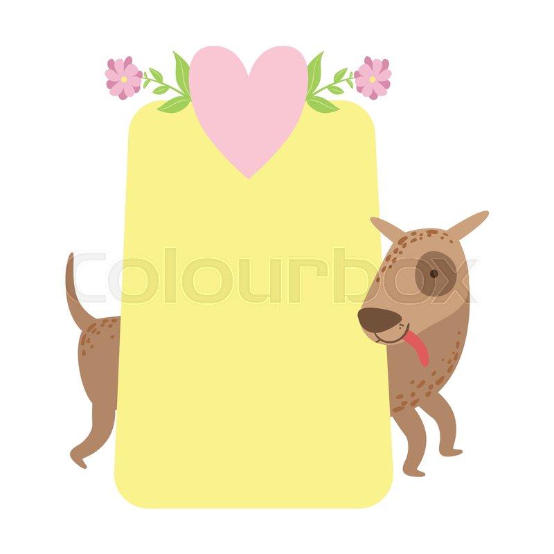 Dog Behind Paper Vector Sticker Template St Valentines Day Message