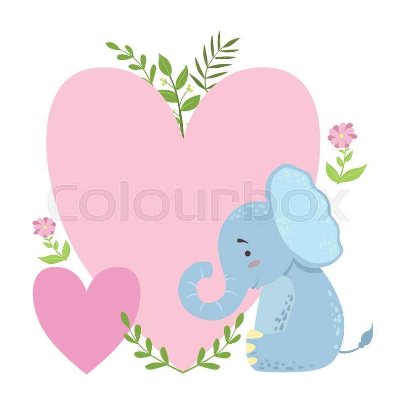 Elephant With Two Big Hearts And Plants Vector Sticker Template St Valentines Day Message Element Missing Text Cute Animal Character Cartoon Design