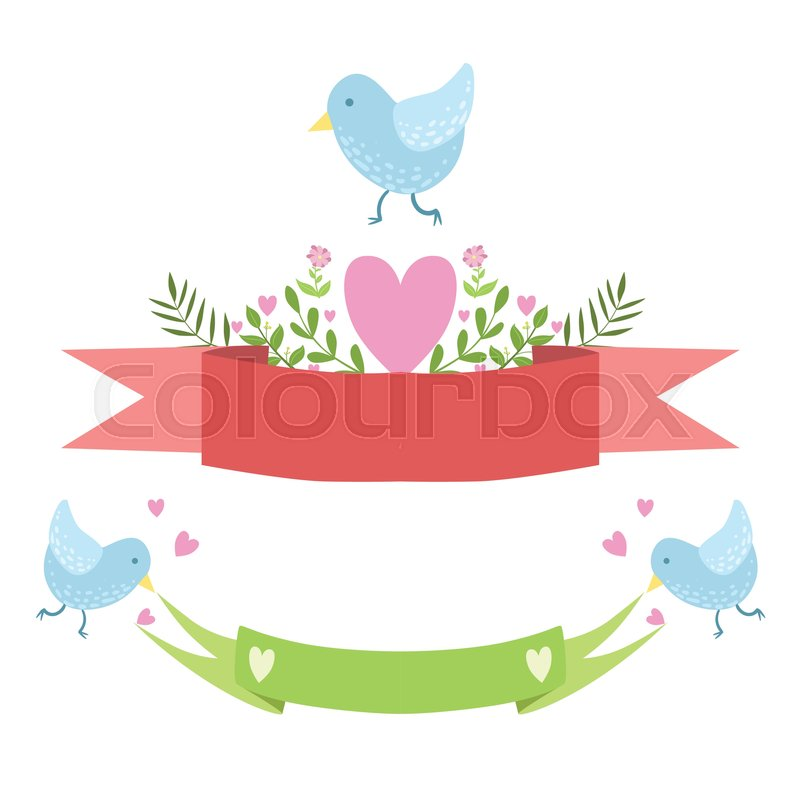 Birds Ribbons And Hearts Vector Sticker Template St Valentines