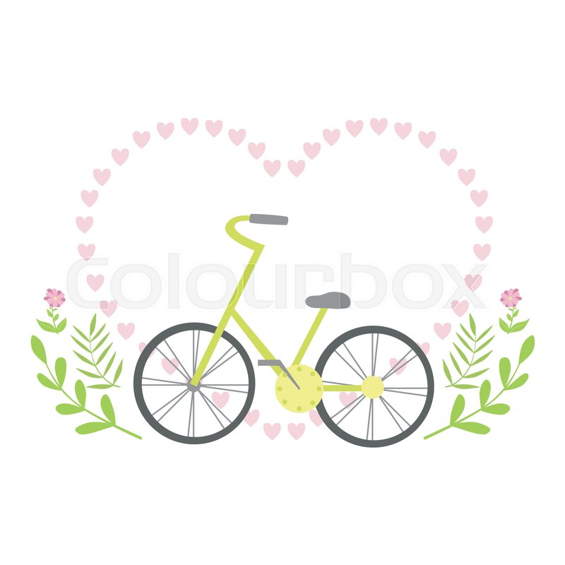 Heart Shaped Frame Formed With Small Hearts And Plants Template St