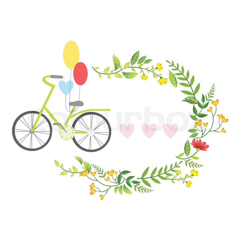 bicycle with balloons and floral round frame with hearts template st valentines day message. Black Bedroom Furniture Sets. Home Design Ideas