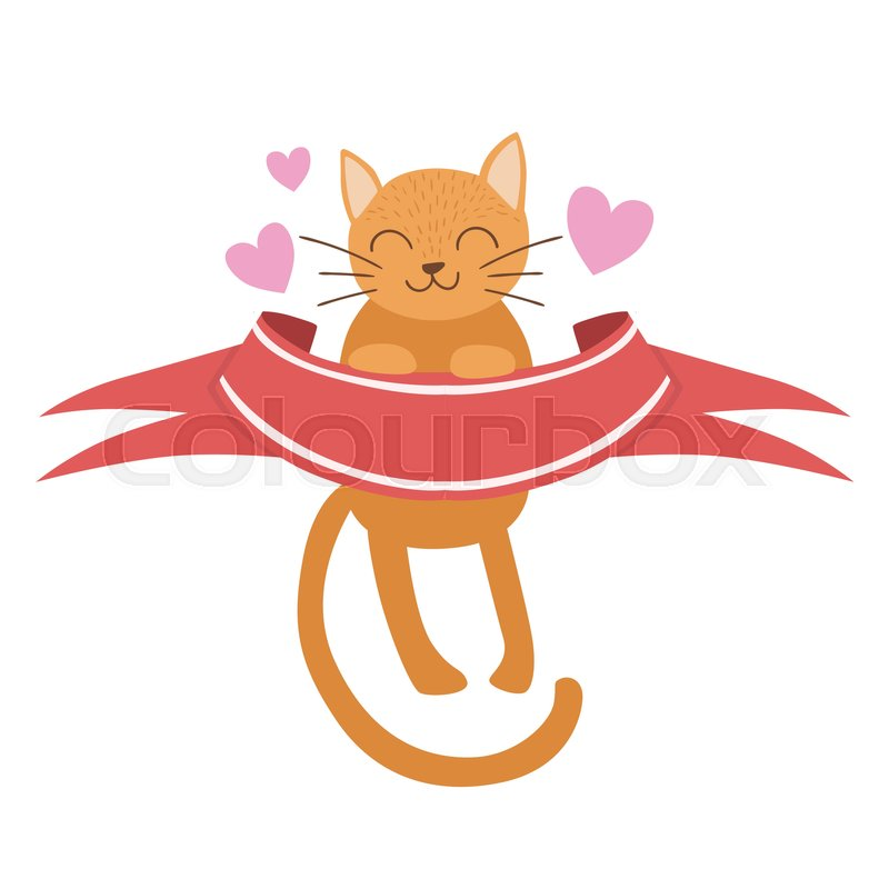 Cat Holding Red Ribbon Vector Sticker Template St Valentines Day