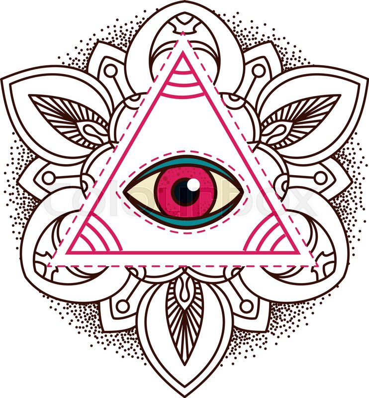 All Seeing Eye Pyramid Symbol Old School Tattoo Mystic Sign Of
