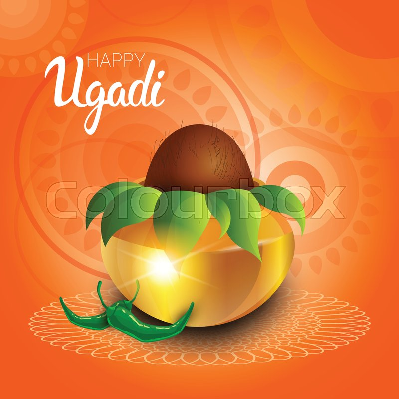 happy ugadi and gudi padwa hindu new year greeting card holiday pot with coconut flat vector illustration stock vector colourbox