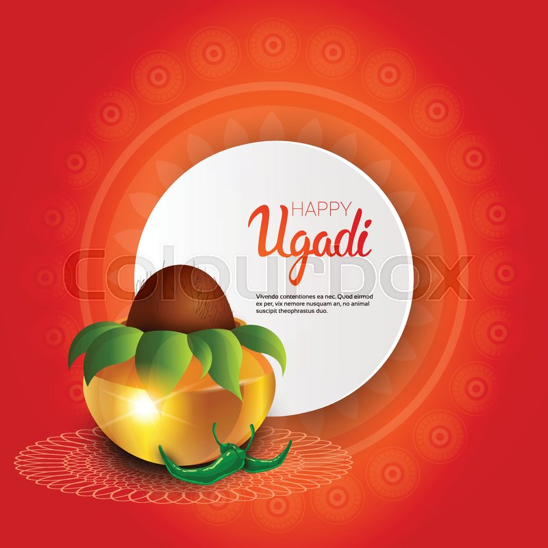Happy ugadi and gudi padwa hindu new year greeting card holiday pot happy ugadi and gudi padwa hindu new year greeting card holiday pot with coconut flat vector illustration stock vector colourbox m4hsunfo