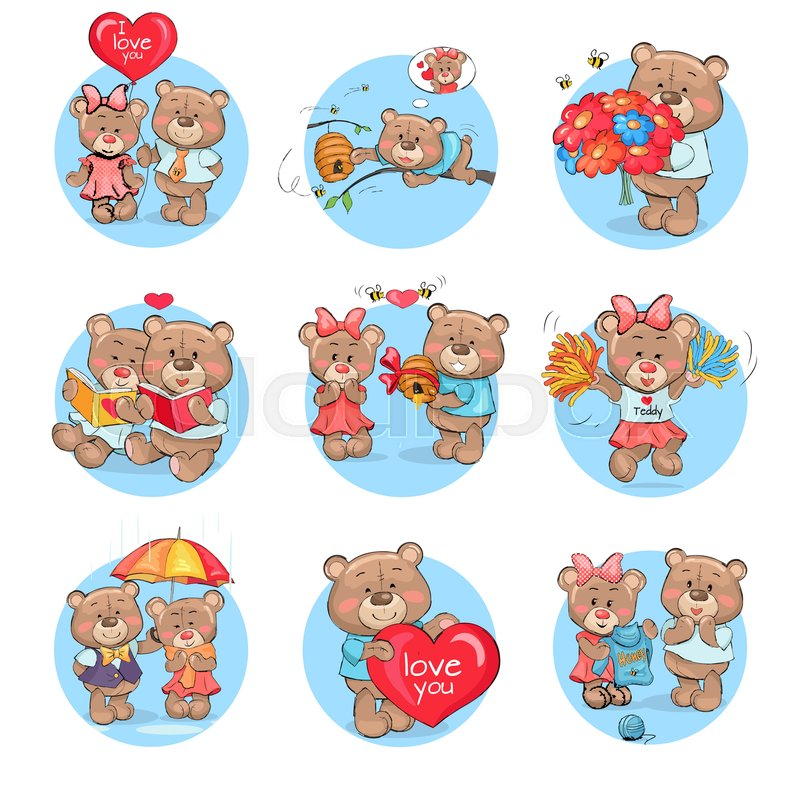 Loving Cartoon Bears Icons Set Cute Hugging With Hearts Balloon Flowers And Empty Paper Sheets Flat Vectors Isolated On White