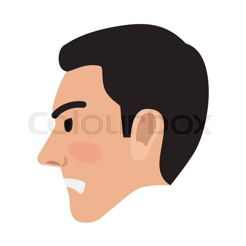 Angry Man Avatar User Pic Isolated On White Vector