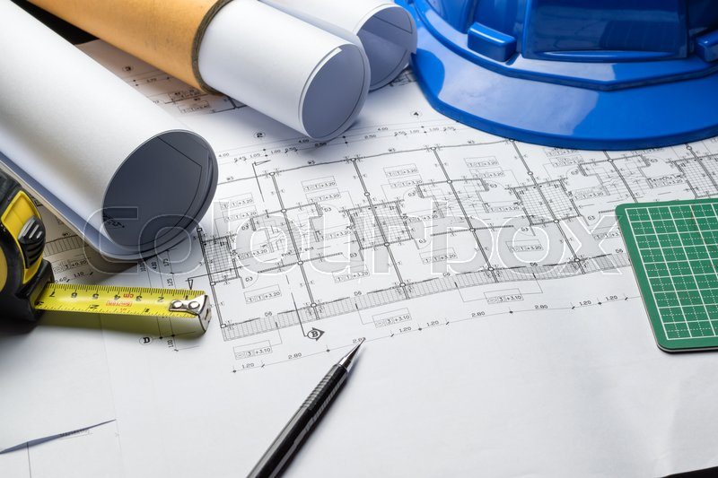 Engineering diagram blueprint paper drafting project sketch architectural,selective focus. , stock photo