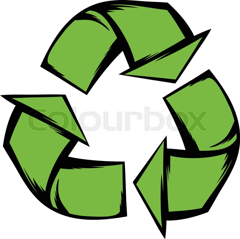 Green Recycle Symbol Single Icon In Cartoon Style Isolated Vector