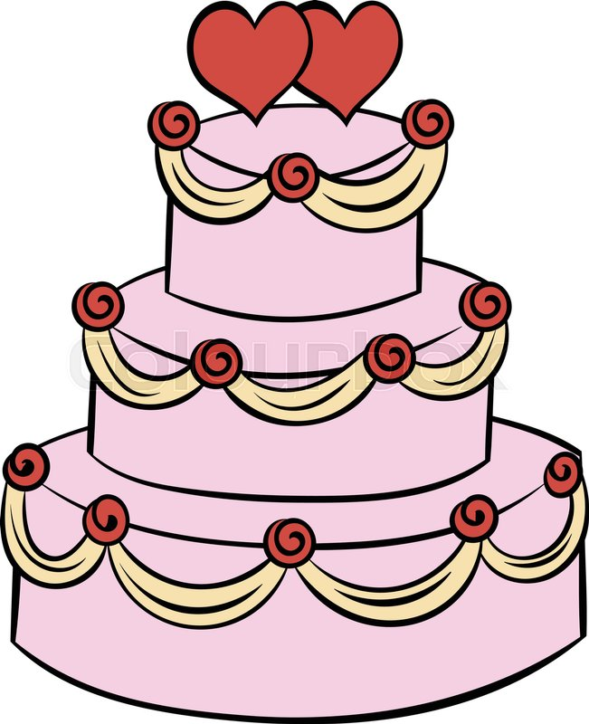 cartoon picture of a wedding cake wedding cake icon in style stock vector 12418