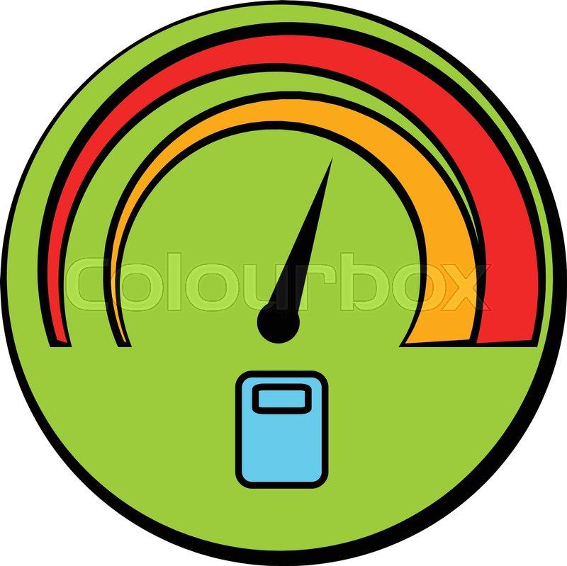 Car fuel gauge icon in cartoon style     | Stock vector
