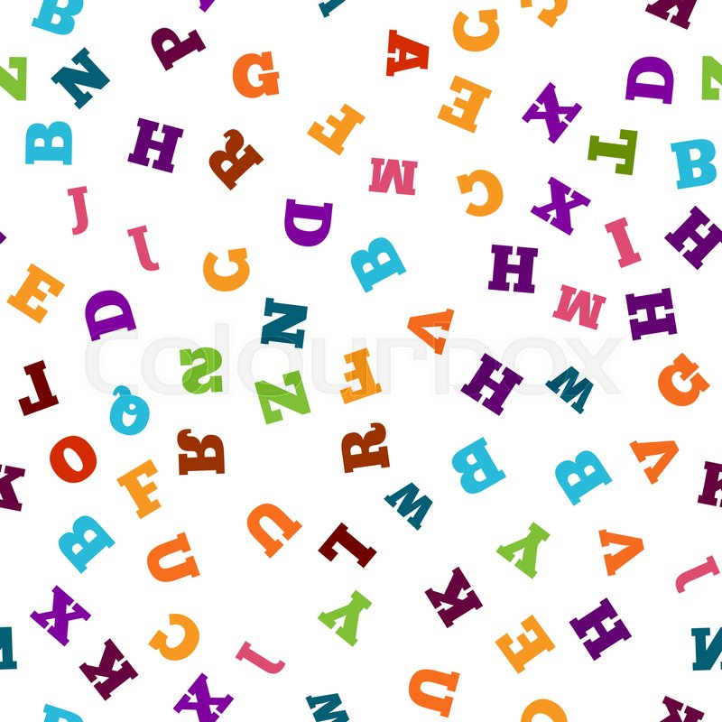 Colorful letter pattern on white background. Vector ...