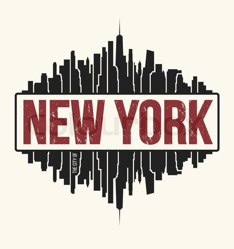 New York City Graphic T Shirt Design Stock Vector Colourbox