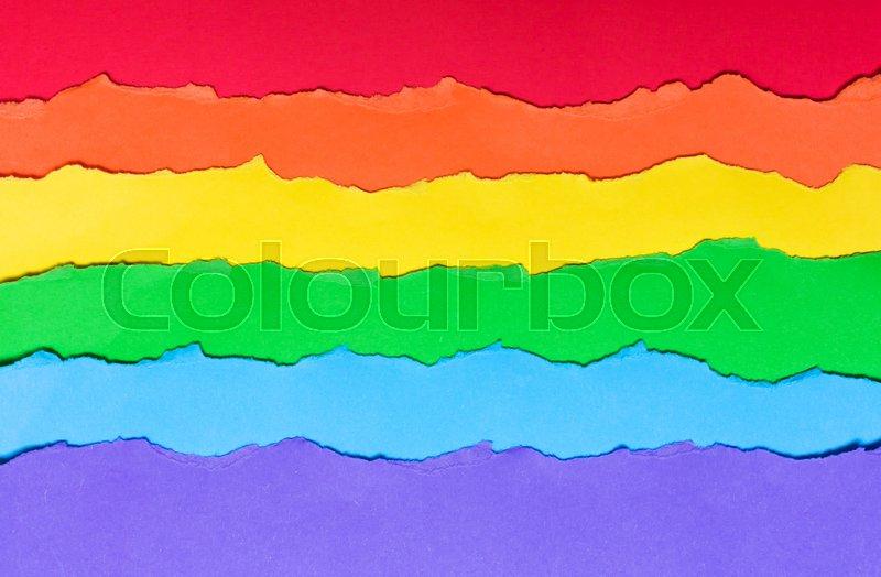 Rainbow Flag Made Of Paper Lgbt Symbol Horizontal Multicolored