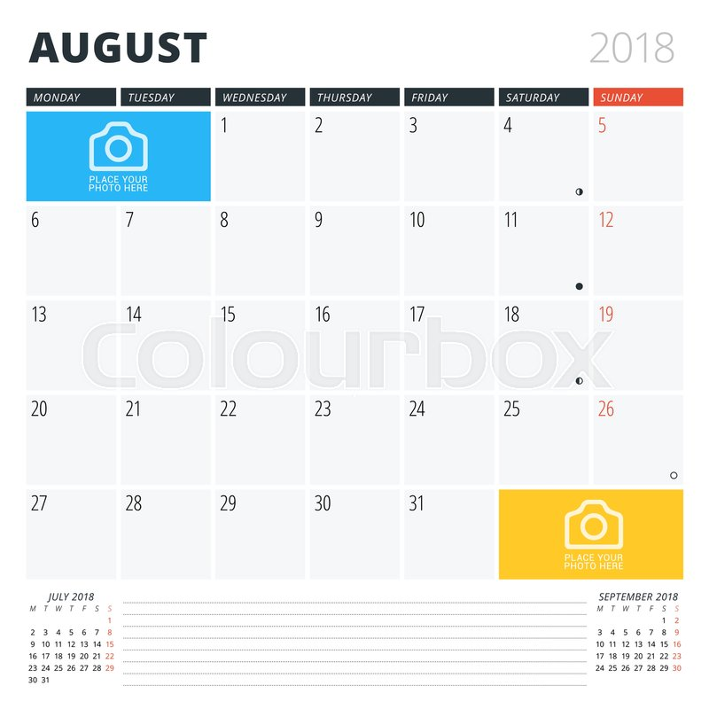 Calendar Planner For August 2018 Print Design Template Week Starts