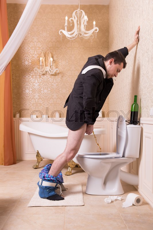 Funny drunk man urine in the toilet bowl. Bathroom ...