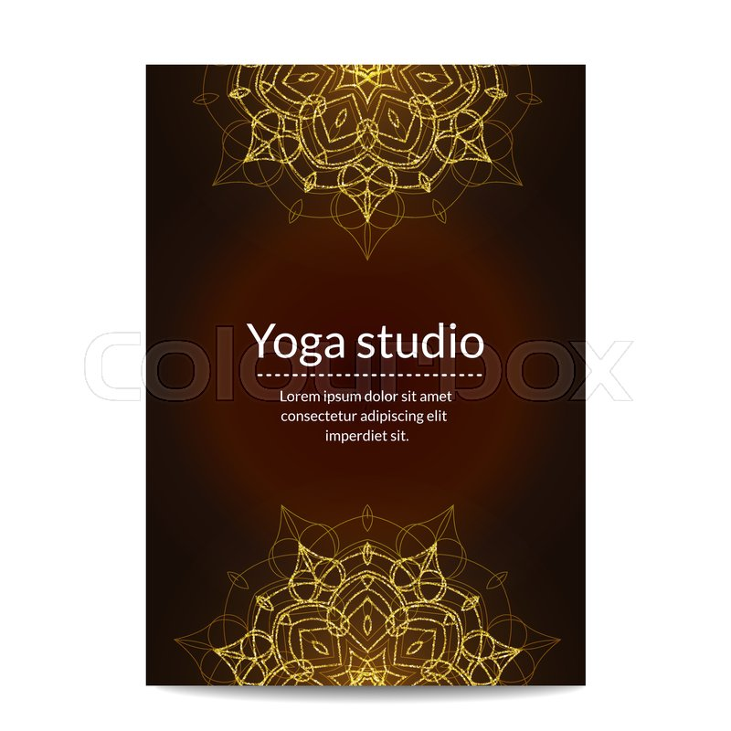 Yoga Banner With Golden Floral Stock Vector Colourbox