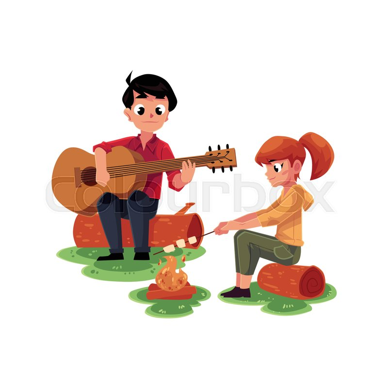 Camping Kids Boy And Girl Playing Stock Vector