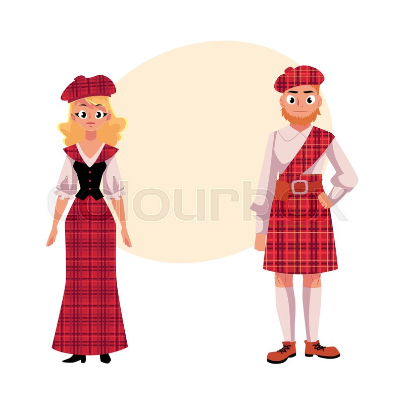 47475e18fd9 Scottish couple in traditional national costumes