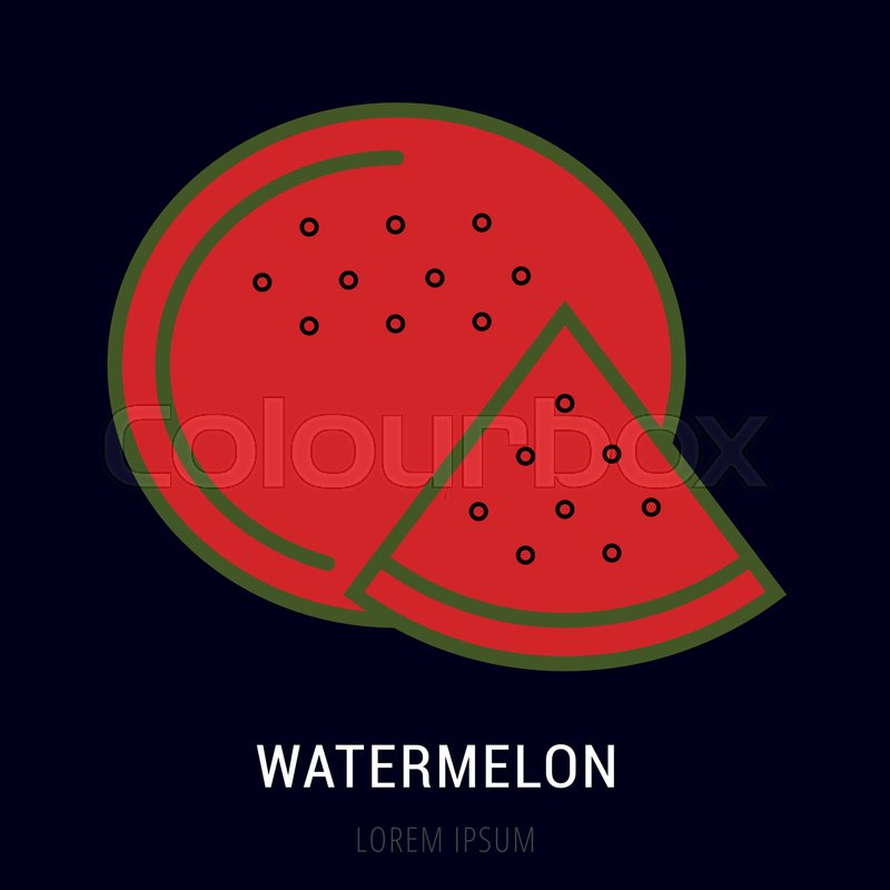 logo or label watermelon line style logotype easy to use