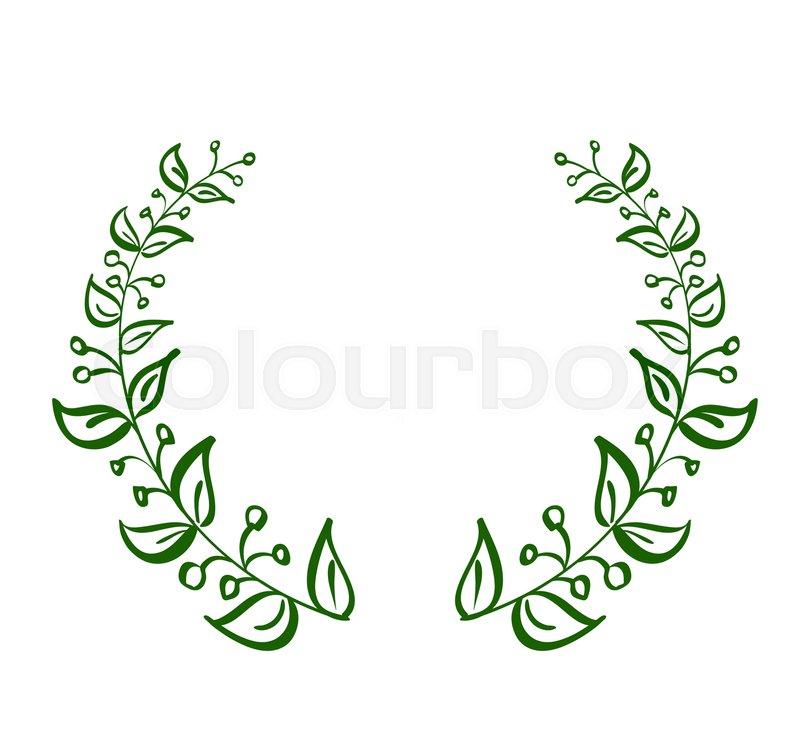 green wreath frame of leaves on white background vector calligraphy illustration eps10 vector - Wreath Frame