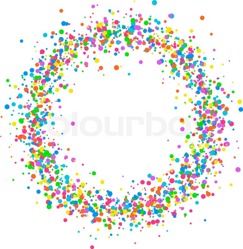 round colored frame or border of random scatter of a birthday clip art borders shamrock birthday clip art borders free images april