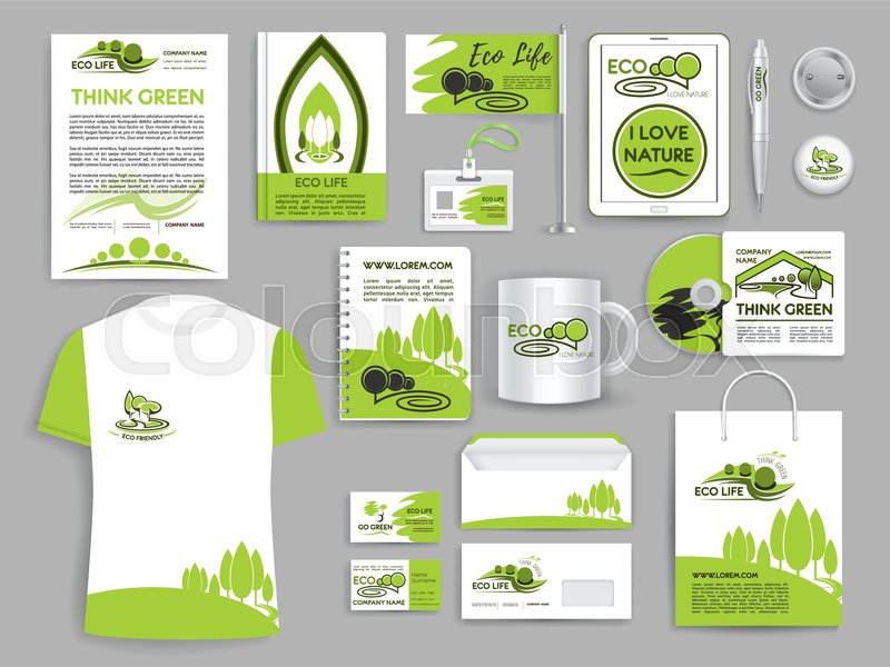Brand or corporate identity templates for ecology and think green ...