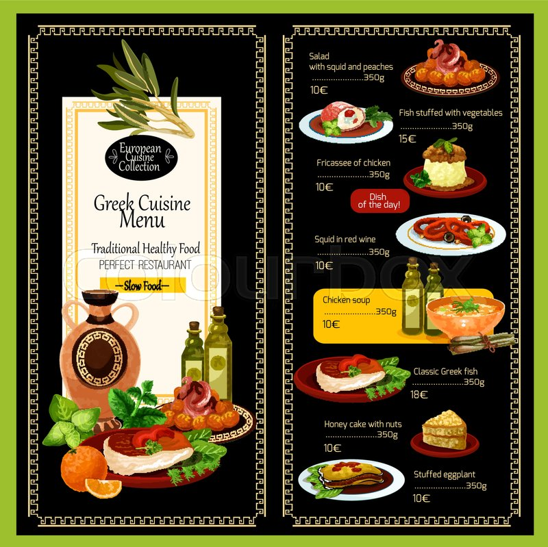 greek cuisine menu template for restaurant traditional greece