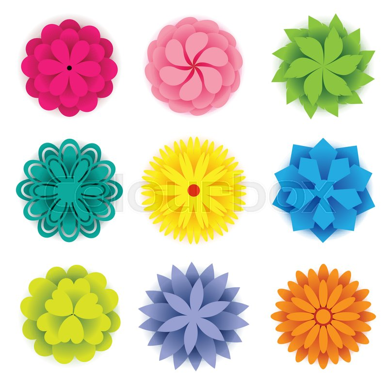Set of colorful paper flowers for spring season stock vector set of colorful paper flowers for spring season vector mightylinksfo