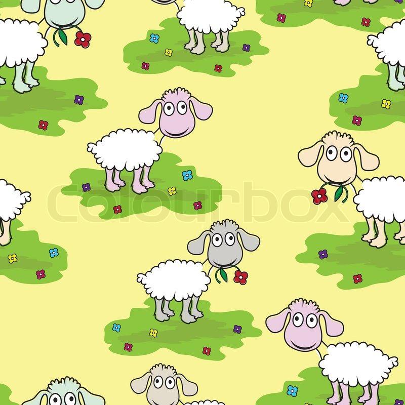 Seamless Wallpaper Pattern Cartoon Sheep Lamb Vector Illustration Background