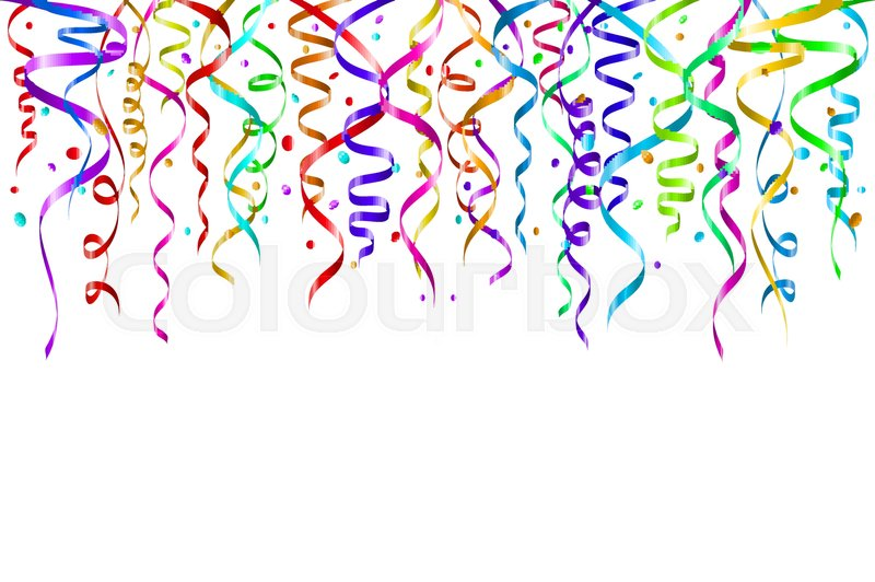 celebration background template with confetti and colorful ribbons